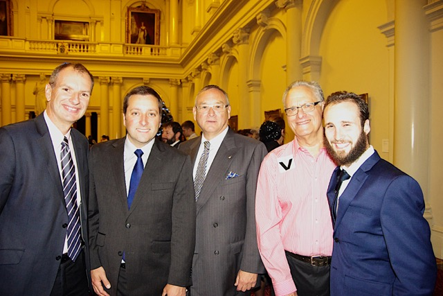 David Southwick (Caulfield MP), Matthew Guy (Victorian Leader of the Opposition), Graham Smorgen AM, Myron Blecher & Rabbi Didi Levin