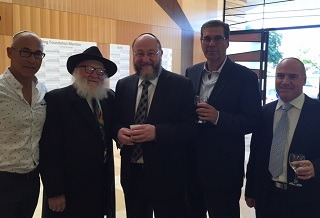 Chief Rabbi Mirvis with Sydney Kahn, Smiley & Ian Harris